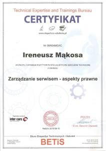 Certyfikat Betis zarzadzanie warsztatem Irek 212x300