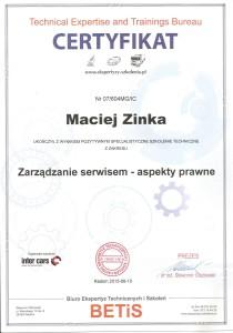 Certyfikat Betis zarzadzanie warsztatem p.Maciej 210x300